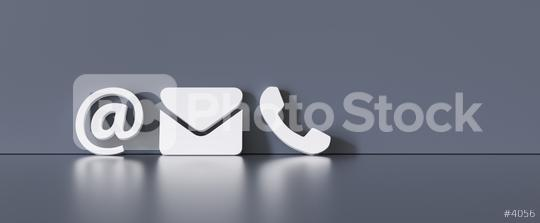 Contact Methods. Close-up Of A Phone, Email and Post Icons Leaning On gra Wall  : Stock Photo or Stock Video Download rcfotostock photos, images and assets rcfotostock | RC-Photo-Stock.: