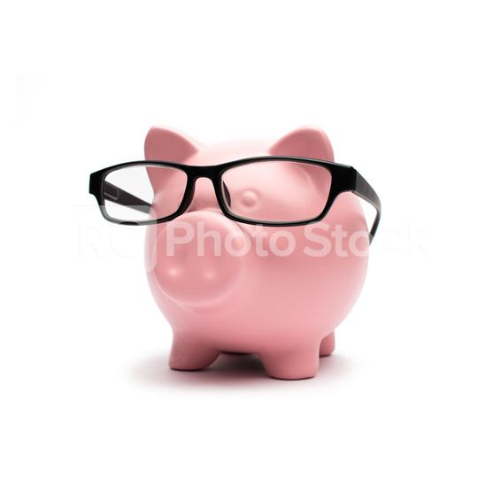 cool Piggy bank with glasses on white  : Stock Photo or Stock Video Download rcfotostock photos, images and assets rcfotostock | RC-Photo-Stock.: