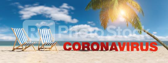 Coronavirus concept with slogan on the beach with deckchairs, Palm tree and blue sky  : Stock Photo or Stock Video Download rcfotostock photos, images and assets rcfotostock | RC-Photo-Stock.: