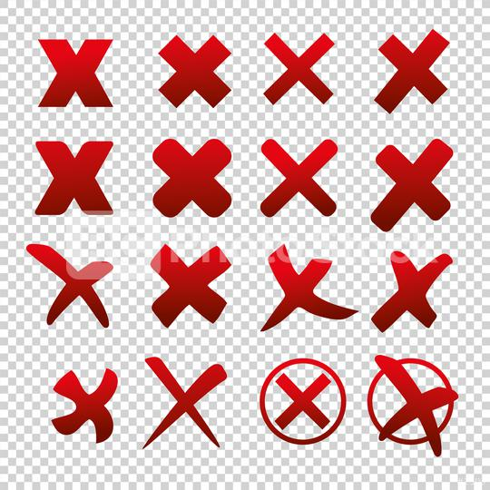Cross sign elements set on checked transparent background. Mark graphic design. Button for vote, decision, web. Symbol of error, check, wrong and stop, failed. Vector illustration. Eps 10 vector file.  : Stock Photo or Stock Video Download rcfotostock photos, images and assets rcfotostock | RC-Photo-Stock.: