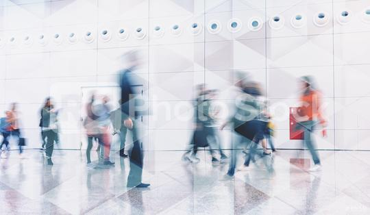 crowd of business people walking and talking in at trade show. Geometric pattern and skyscrapers foreground. Toned image double exposure mock up blurred  : Stock Photo or Stock Video Download rcfotostock photos, images and assets rcfotostock | RC-Photo-Stock.:
