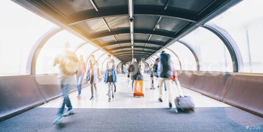 crowd of commuters rushing through an escalator in airport terminal   : Stock Photo or Stock Video Download rcfotostock photos, images and assets rcfotostock | RC-Photo-Stock.: