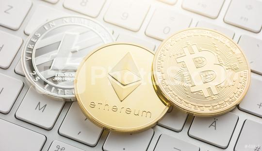 cryptocurrency coins - Litecoin, Bitcoin, Ethereum  : Stock Photo or Stock Video Download rcfotostock photos, images and assets rcfotostock   RC-Photo-Stock.: