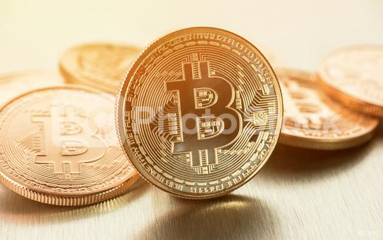 Cryptocurrency Golden Bitcoins (new virtual money )  : Stock Photo or Stock Video Download rcfotostock photos, images and assets rcfotostock | RC-Photo-Stock.: