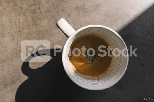 Cup of coffee on grey background, top view  : Stock Photo or Stock Video Download rcfotostock photos, images and assets rcfotostock | RC-Photo-Stock.: