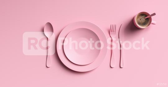 Cup of coffee with pink fork, knife and spoon, top view. Clear ceramic dishware with set cutlery design. Empty pink table ware for lunch or dinner in cafe. copyspace for your individual text.  : Stock Photo or Stock Video Download rcfotostock photos, images and assets rcfotostock | RC-Photo-Stock.: