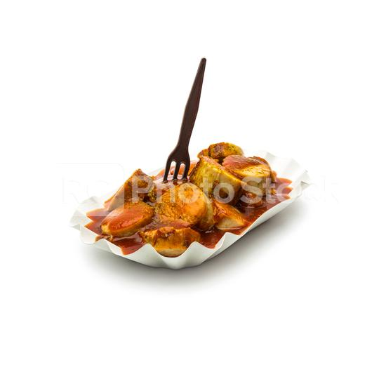 currywurst in a shell with fork  : Stock Photo or Stock Video Download rcfotostock photos, images and assets rcfotostock | RC-Photo-Stock.: