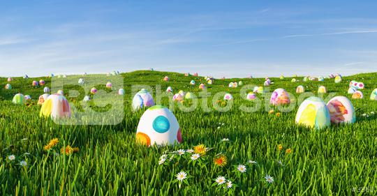 Decorated easter eggs in grass on sky background  : Stock Photo or Stock Video Download rcfotostock photos, images and assets rcfotostock | RC-Photo-Stock.: