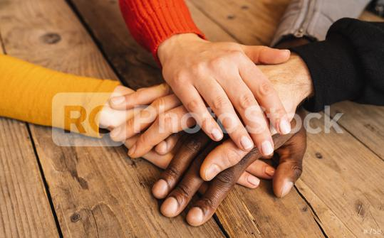 Diverse hands are join together on the wooden table  : Stock Photo or Stock Video Download rcfotostock photos, images and assets rcfotostock   RC-Photo-Stock.: