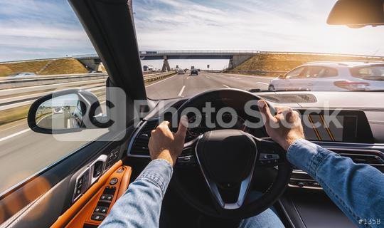 Driving car pov on a highway - Point of View, first person perspective  : Stock Photo or Stock Video Download rcfotostock photos, images and assets rcfotostock | RC-Photo-Stock.: