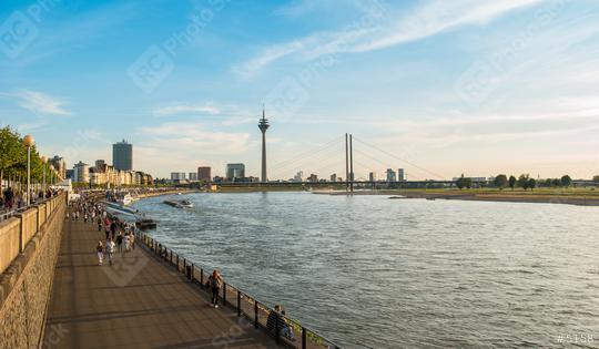 Duesseldorf skyline with Rheinturm and river promenade  : Stock Photo or Stock Video Download rcfotostock photos, images and assets rcfotostock | RC-Photo-Stock.: