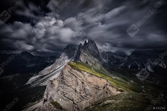 Dunkle Wolken über Seceda, Geislerspitzen, Dolomiten, Alpen, Sommer  : Stock Photo or Stock Video Download rcfotostock photos, images and assets rcfotostock | RC-Photo-Stock.: