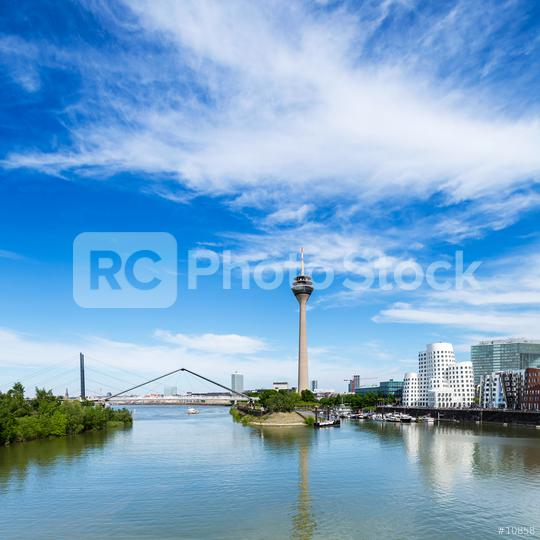 Dusseldorf skyline view at the media harbor at summer  : Stock Photo or Stock Video Download rcfotostock photos, images and assets rcfotostock   RC-Photo-Stock.: