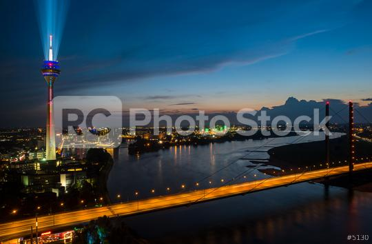 Dusseldorf with the illuminated rhine tower (Rheinturm) at night  : Stock Photo or Stock Video Download rcfotostock photos, images and assets rcfotostock | RC-Photo-Stock.: