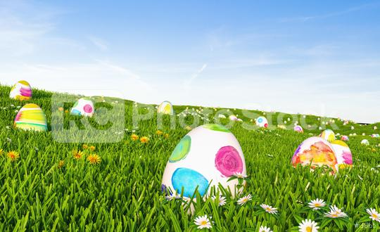 Easter eggs in green grass  : Stock Photo or Stock Video Download rcfotostock photos, images and assets rcfotostock   RC-Photo-Stock.: