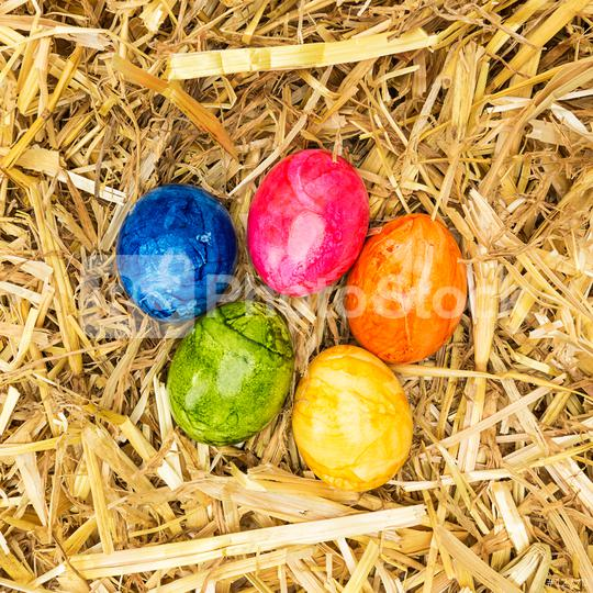easter straw nest with colored eggs  : Stock Photo or Stock Video Download rcfotostock photos, images and assets rcfotostock   RC-Photo-Stock.: