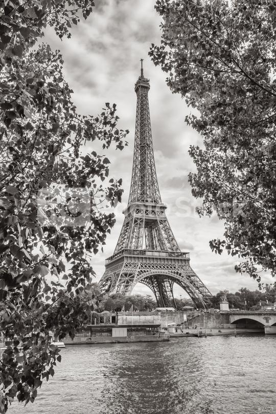 Eiffel Tower view on Seine river in Paris, France. Black and white colored  : Stock Photo or Stock Video Download rcfotostock photos, images and assets rcfotostock | RC-Photo-Stock.: