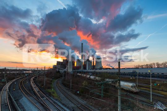 electricity power plant at sunset  : Stock Photo or Stock Video Download rcfotostock photos, images and assets rcfotostock | RC-Photo-Stock.: