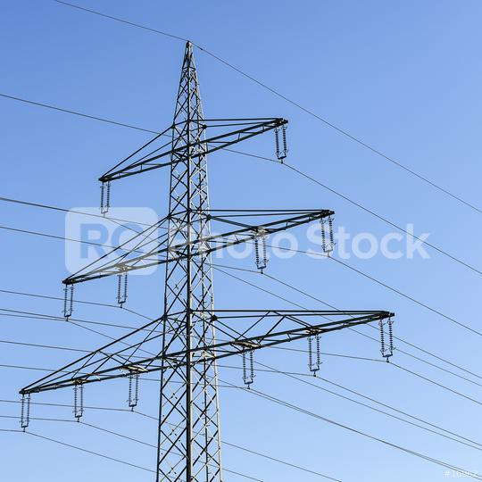 Electricity pylon close-up power pole high voltage against blue sky  : Stock Photo or Stock Video Download rcfotostock photos, images and assets rcfotostock | RC-Photo-Stock.: