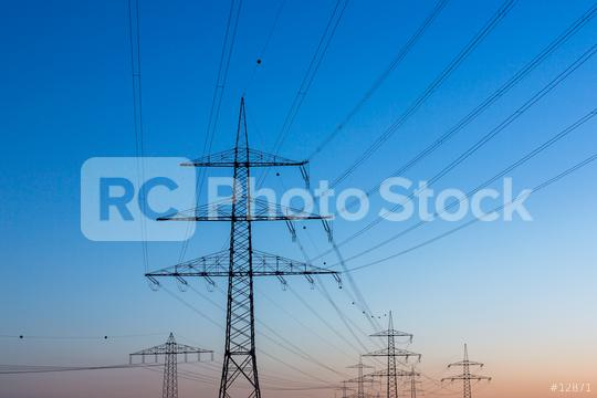 electricity pylons at sunset  : Stock Photo or Stock Video Download rcfotostock photos, images and assets rcfotostock | RC-Photo-Stock.: