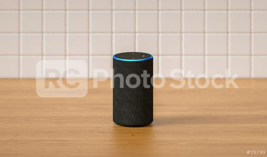 Electronic equipment smart speaker in the kitchen  : Stock Photo or Stock Video Download rcfotostock photos, images and assets rcfotostock | RC-Photo-Stock.: