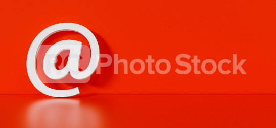 Email Icon or at sign leaning against a red wall as a communication concept, copyspace for your individual text.   : Stock Photo or Stock Video Download rcfotostock photos, images and assets rcfotostock   RC-Photo-Stock.: