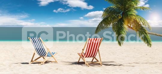 Empty beach chairs next to a palm tree at the beach during a summer vacation in the Caribbean  : Stock Photo or Stock Video Download rcfotostock photos, images and assets rcfotostock | RC-Photo-Stock.:
