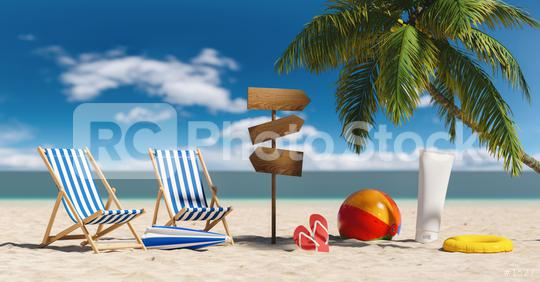 Empty deckchairs with flip-flop sandals, beach umbrella, suncream and signpost,  next to a palm tree at the beach during a summer vacation in the Caribbean  : Stock Photo or Stock Video Download rcfotostock photos, images and assets rcfotostock | RC-Photo-Stock.: