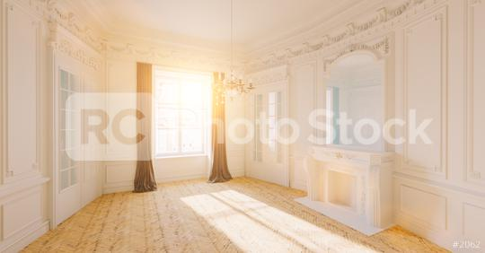 Empty white bright room with stucco in an old villa with fireplace and sunlight  : Stock Photo or Stock Video Download rcfotostock photos, images and assets rcfotostock   RC-Photo-Stock.:
