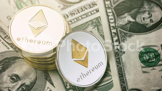 Ethereum crypto-currency on dollar notes  : Stock Photo or Stock Video Download rcfotostock photos, images and assets rcfotostock | RC-Photo-Stock.: