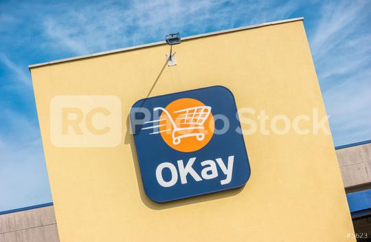 EUPEN, GERMANY OCTOBER, 2017: OKay supermarket logo on a Store. OKay is a neighbourhood stores supermarket chain of the Colruyt Group.  : Stock Photo or Stock Video Download rcfotostock photos, images and assets rcfotostock | RC-Photo-Stock.: