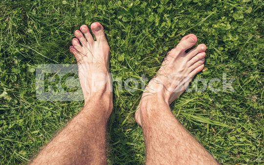 Feets From Above Concept, Person barefoot Standing on a Meadow at hot summer day, Point of view shot  : Stock Photo or Stock Video Download rcfotostock photos, images and assets rcfotostock | RC-Photo-Stock.: