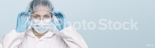 Female Doctor or Nurse Wearing latex protective gloves and medical Protective Mask and glasses on face. Protection for Coronavirus COVID-19, with copyspace for your individual text.  : Stock Photo or Stock Video Download rcfotostock photos, images and assets rcfotostock   RC-Photo-Stock.:
