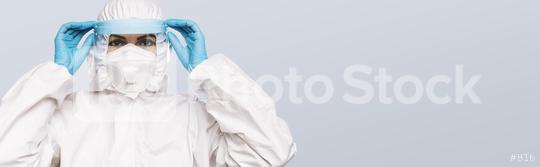 Female Doctor or Nurse Wearing latex protective gloves and medical Protective Mask with shield and glasses on face. Protection for Coronavirus COVID-19, with copyspace for your individual text.  : Stock Photo or Stock Video Download rcfotostock photos, images and assets rcfotostock   RC-Photo-Stock.: