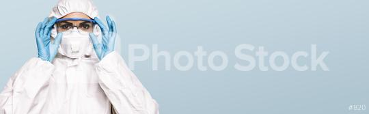 Female Doctor or Nurse Wearing latex protective gloves and medical Protective Mask and glasses on face. Protection for Coronavirus COVID-19, with copyspace for your individual text.  : Stock Photo or Stock Video Download rcfotostock photos, images and assets rcfotostock | RC-Photo-Stock.:
