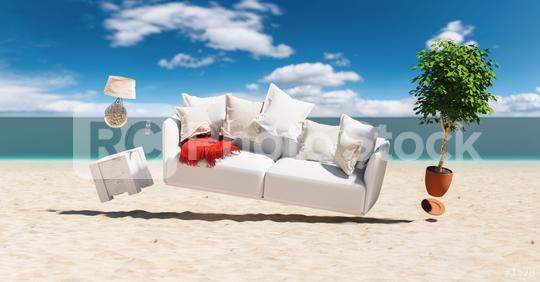 Flying sofa and furniture in weightlessness at the beach  : Stock Photo or Stock Video Download rcfotostock photos, images and assets rcfotostock | RC-Photo-Stock.: