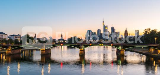 Frankfurt am Main skyline at the blue hour in germany  : Stock Photo or Stock Video Download rcfotostock photos, images and assets rcfotostock | RC-Photo-Stock.: