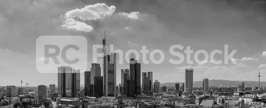 Frankfurt am Main Skyline Panorama in monochrome colors  : Stock Photo or Stock Video Download rcfotostock photos, images and assets rcfotostock | RC-Photo-Stock.:
