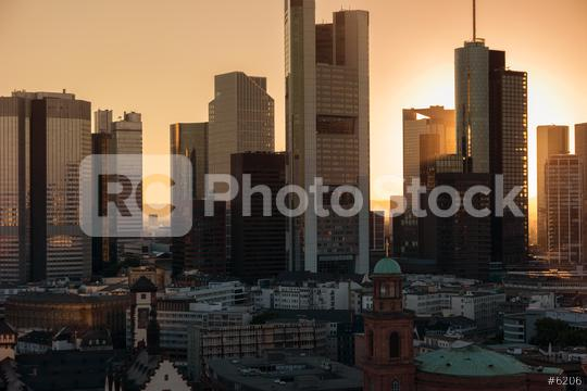 Frankfurt am Main skyscaper skyline at dusk  : Stock Photo or Stock Video Download rcfotostock photos, images and assets rcfotostock | RC-Photo-Stock.: