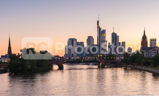 Frankfurt City Skyline at summer sunset, germany  : Stock Photo or Stock Video Download rcfotostock photos, images and assets rcfotostock   RC-Photo-Stock.: