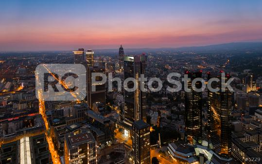 Frankfurt Financial district arial view at sunset  : Stock Photo or Stock Video Download rcfotostock photos, images and assets rcfotostock | RC-Photo-Stock.: