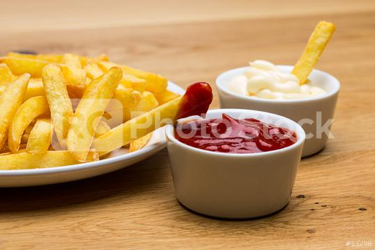 French fries with ketchup and mayonnaise sauces  : Stock Photo or Stock Video Download rcfotostock photos, images and assets rcfotostock | RC-Photo-Stock.: