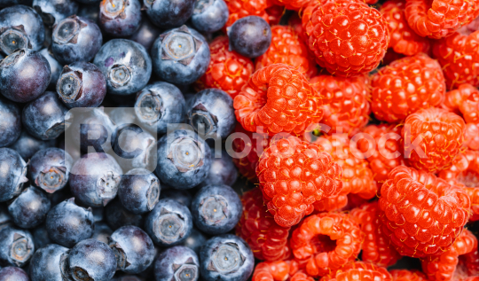 Fresh blueberries and raspberrys background or backdrop. Vegan and vegetarian concept. Macro texture of blueberry and raspberry berries. Summer healthy food.   : Stock Photo or Stock Video Download rcfotostock photos, images and assets rcfotostock | RC-Photo-Stock.: