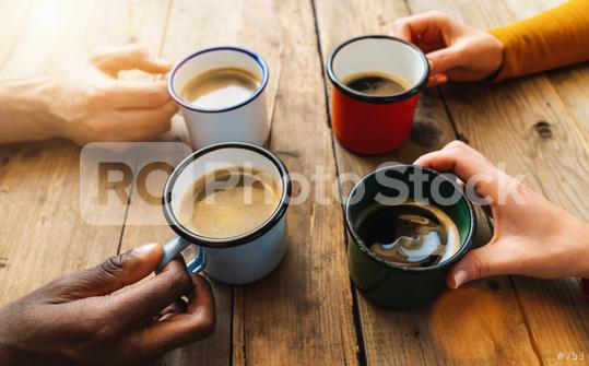 Friends group drinking cappuccino at coffee in a bar restaurant - People hands cheering and toasting - Social gathering concept with white and black men and women together  : Stock Photo or Stock Video Download rcfotostock photos, images and assets rcfotostock | RC-Photo-Stock.: