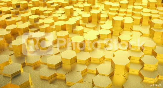 futuristic golden hexagonal background - 3D Rendering  : Stock Photo or Stock Video Download rcfotostock photos, images and assets rcfotostock | RC-Photo-Stock.: