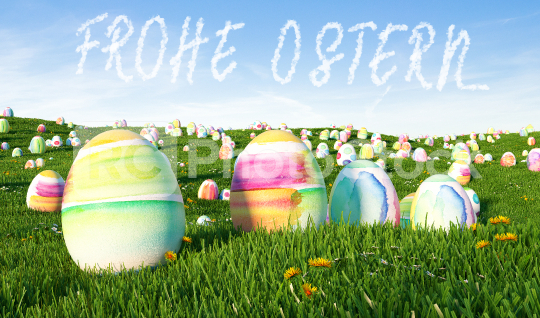 """German slogan """"Frohe Ostern!"""" (Happy Easter) greeting with many   : Stock Photo or Stock Video Download rcfotostock photos, images and assets rcfotostock   RC-Photo-Stock.:"""