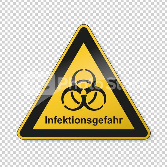 German word Infektionsgefahr (infection risk) during corona Coronavirus 2019-nCoV. Corona virus quarantine infection attention sign. safety signs, warning Sign, Danger symbol BGV Pandemic.Vector Eps10  : Stock Photo or Stock Video Download rcfotostock photos, images and assets rcfotostock | RC-Photo-Stock.: