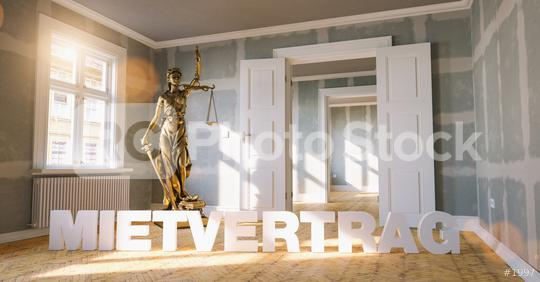 German word Mietvertrag (rental contract) in a apartment with The Statue of Justice - lady justice or Iustitia / Justitia the Roman goddess of Justic as a concept image   : Stock Photo or Stock Video Download rcfotostock photos, images and assets rcfotostock | RC-Photo-Stock.: