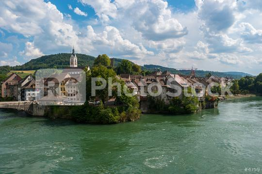 Germany, city of Laufenburg, Danube river with bridge and typical german houses  : Stock Photo or Stock Video Download rcfotostock photos, images and assets rcfotostock   RC-Photo-Stock.: