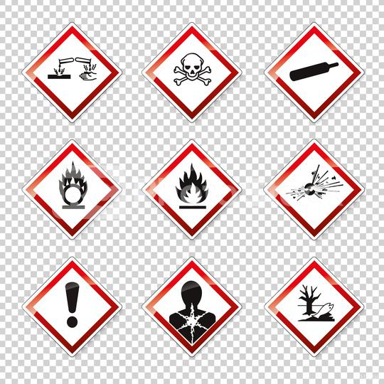 GHS pictogram hazard sign set, set icons. Dangerous, hazard symbol collections on checked transparent background. Vector illustration. Eps 10 vector file.  : Stock Photo or Stock Video Download rcfotostock photos, images and assets rcfotostock | RC-Photo-Stock.: